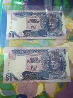 HJ Last Prefix MALAYSIA RM1 6th Series x 2 pcs