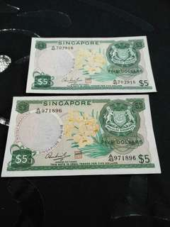 Sg old $5 notes 2pc offer $168