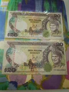 TF First Prefix MALAYSIA RM20 6th Series x 2 pcs