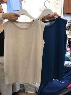 正韓 無袖 背心 賣藍色 無袖上衣 柔感棉