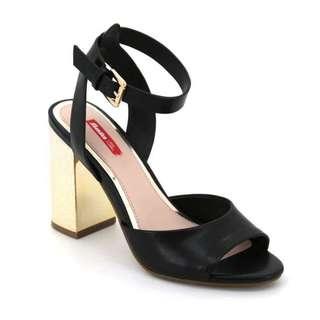 Black & Gold Sandal Heels