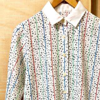 🚚 復古古著vintage.日本衣標俏皮童趣幾何三角印花圖騰鮮豔撞色條紋襯衫