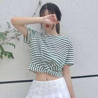 🌻韓版心機百搭短板條紋短袖T恤 三色可選 隨性 性格