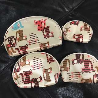 全新 四件組 貓咪 收納包 化妝包 拉鍊