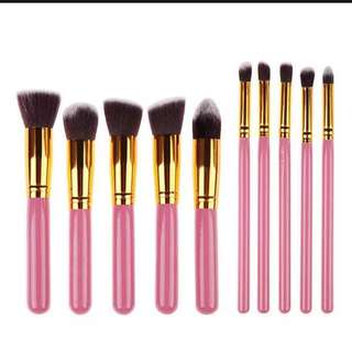 Make Up Brush 10 pc set in pink gold/ white gold / black gold