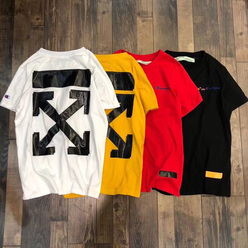9ed4ed67 902 Off White Champion Tee, Men's Fashion, Clothes, Tops on Carousell