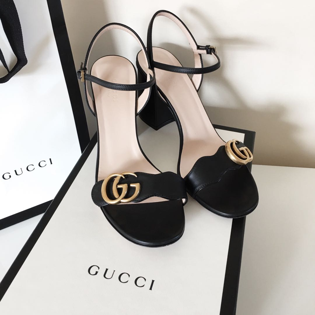 0cd88c73cd49 Authentic Gucci women s leather mid-heel sandal