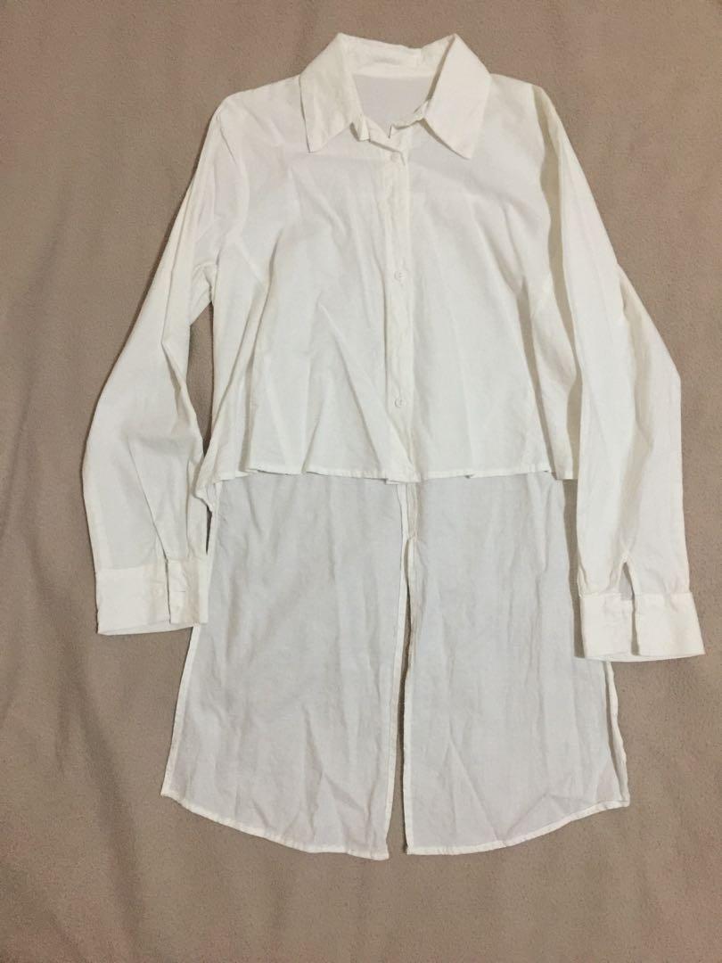 Baju kemeja wanita cropped depan belakang panjang fashion cewek putih white shirt, Women's Fashion, Women's Clothes, Tops on Carousell