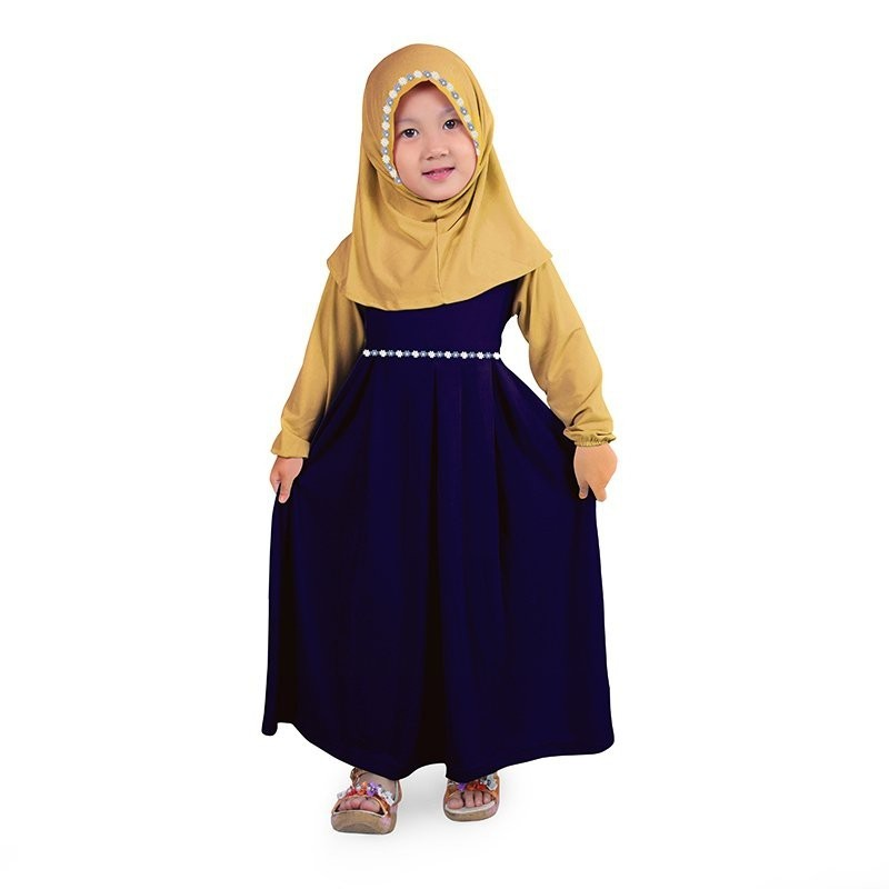 Baju Muslim Gamis Anak Perempuan Jersey Murah - Navy Cream, Babies & Kids, Girls' Apparel on Carousell