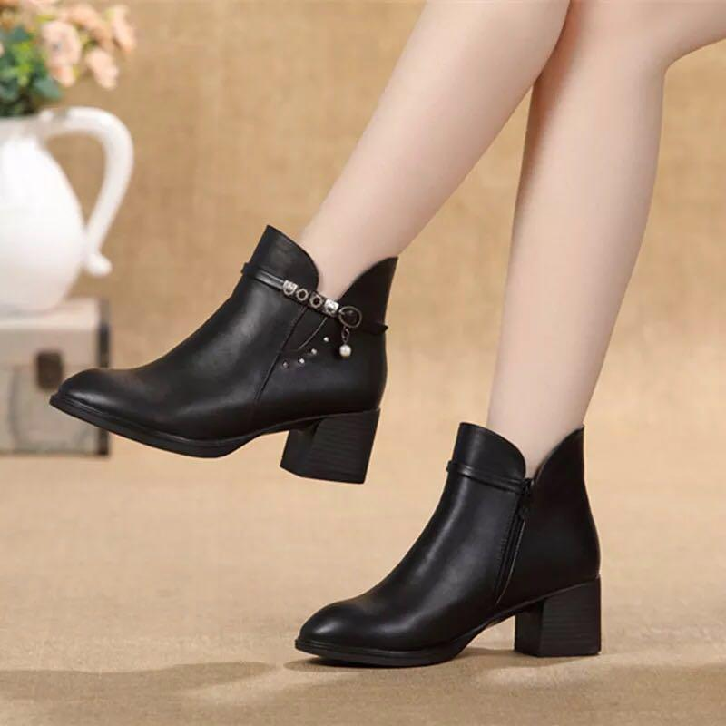 New Ladies Women Ankle Leather Boots Side Zip Low Heel Casual Office Work Shoes