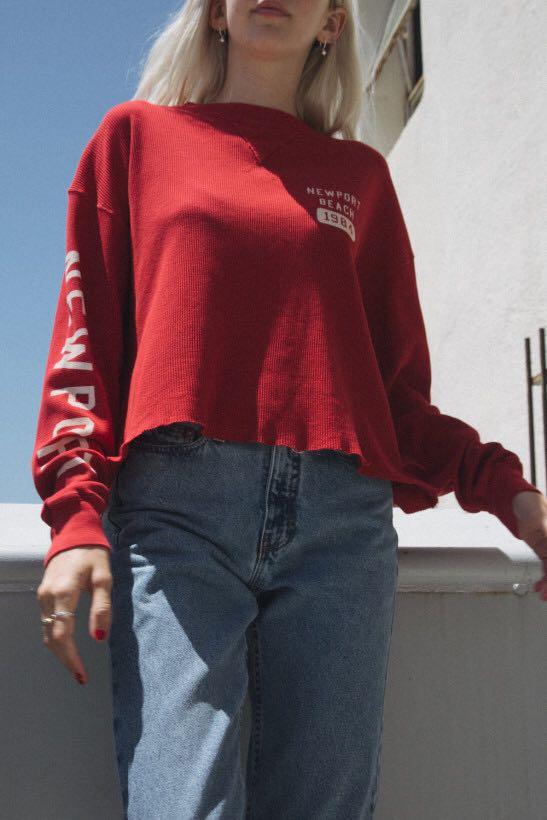549ffe5e9b BN Brandy Melville red Newport Beach laila thermal top, Women's ...