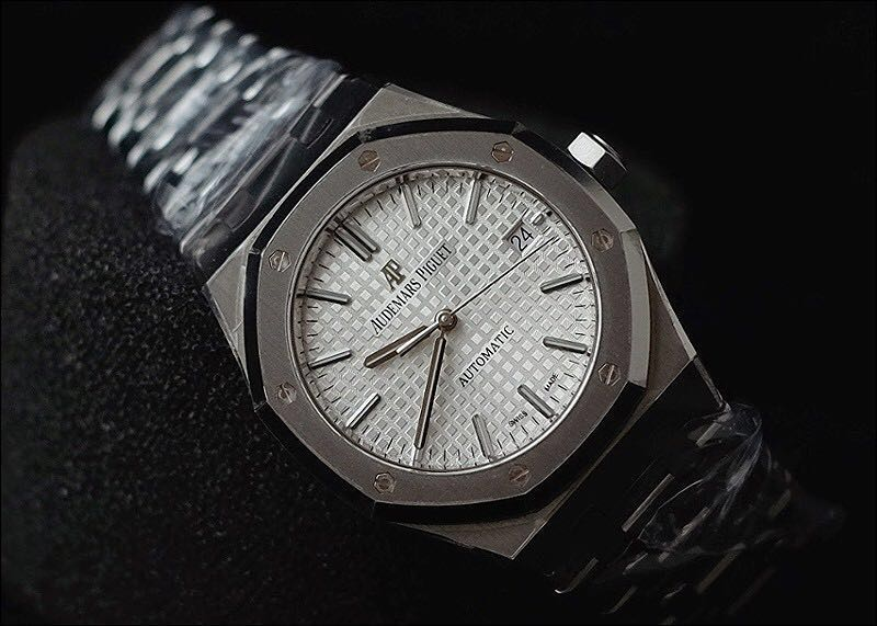 Brand New Audemars Piguet Royal Oak Self Winding 41mm Watch In Silver White