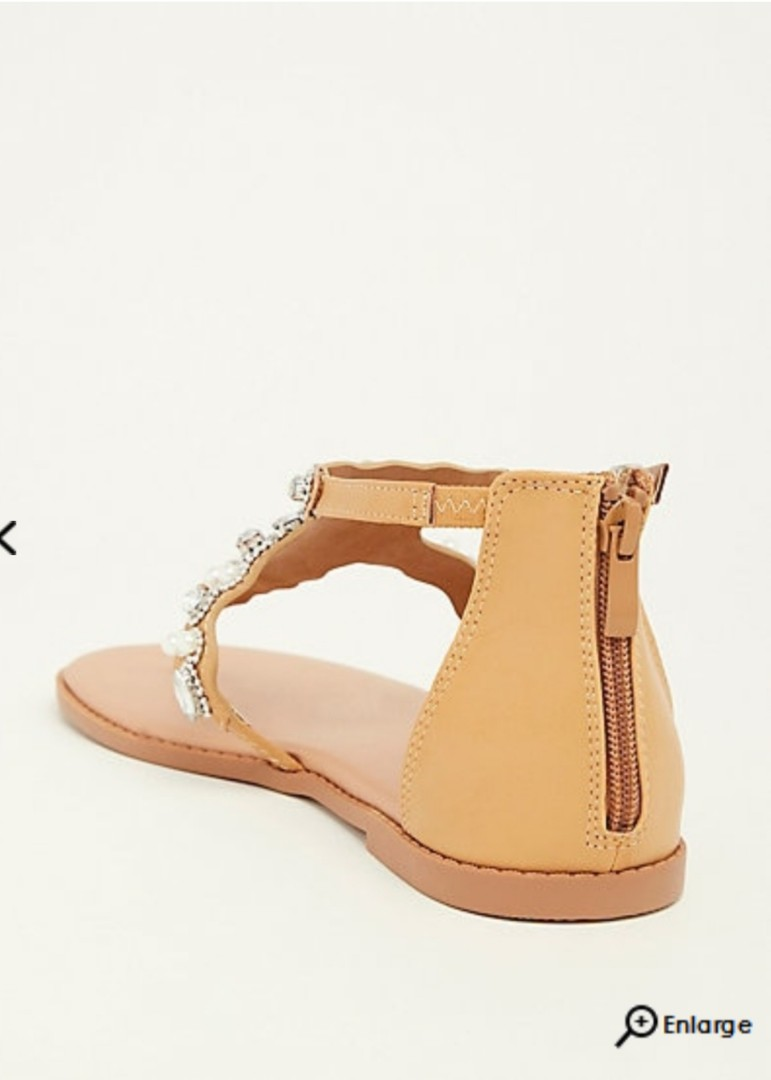 ed9bf0c30 BRAND NEW  Tan Faux Leather and Rhinestone Sandal (Wide width ...