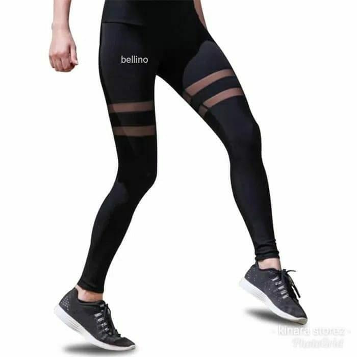 Celana Legging Sport Import 663 Tile Transparan Strip Tengah Celana Gym Aerobic Yoga Zumba Wanita Olshop Fashion Olshop Wanita Di Carousell