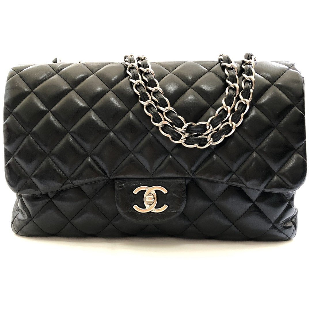 c82d354ee48e Chanel Black Quilted Lambskin Leather Classic Jumbo Single Flap Bag ...
