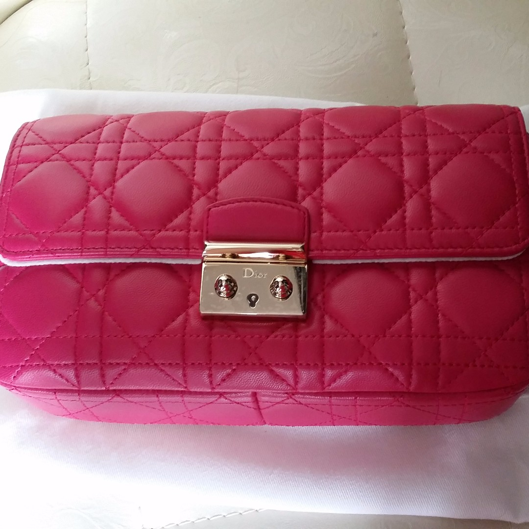 8813f7fff8e2 CHRISTIAN DIOR Fuchsia Cannage Quilted Lambskin Leather Miss Dior ...