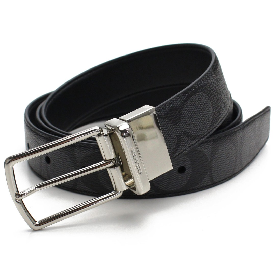 514ac426ca0c Coach Men s Plaque Cut-To-Size Reversible Signature Coated Canvas Belt With  2 Buckles Set In Gift Box