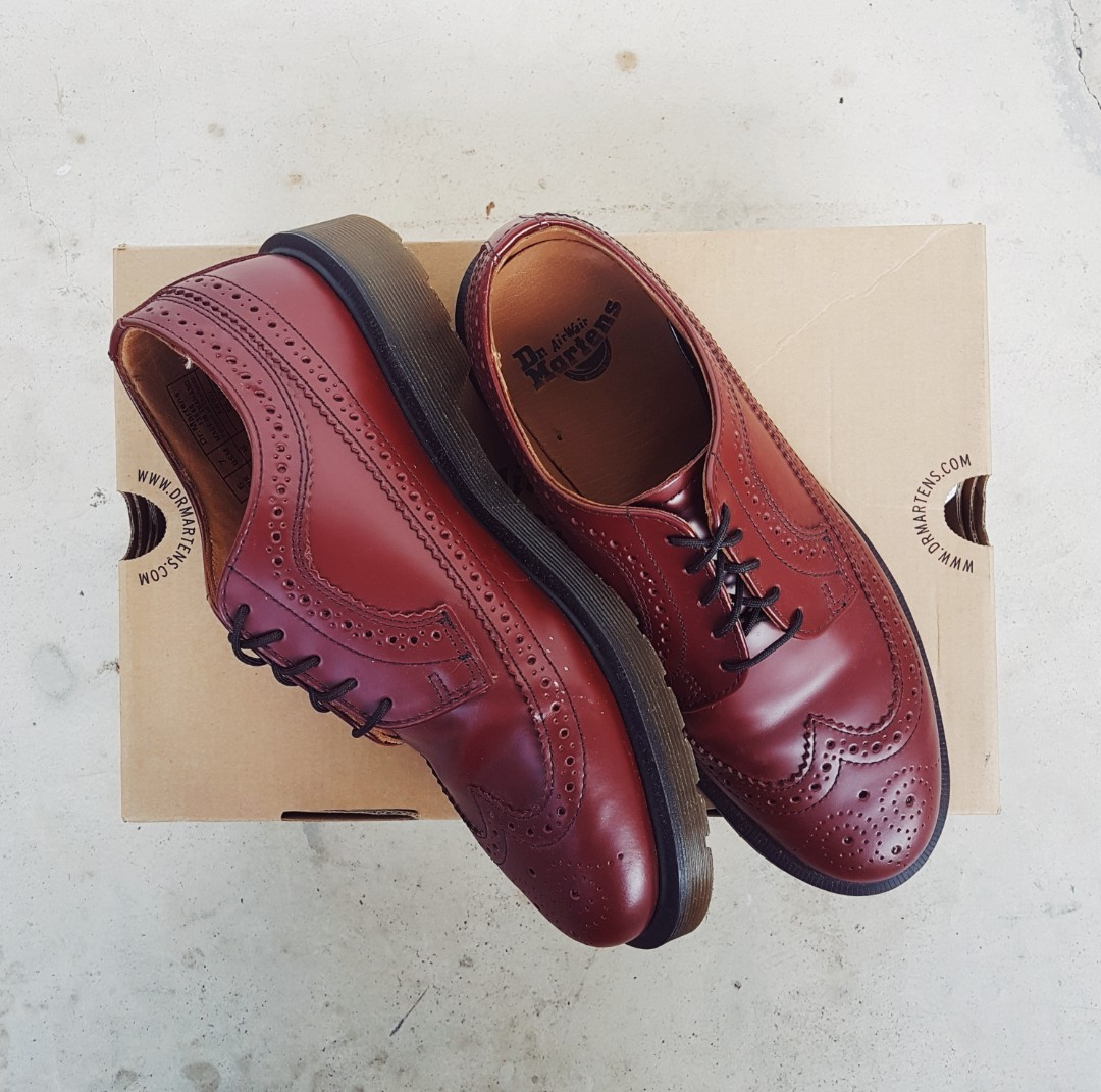 678b5a18df00 Dr Martens 3989 Cherry Red Brogues, Men's Fashion, Footwear, Formal Shoes  on Carousell