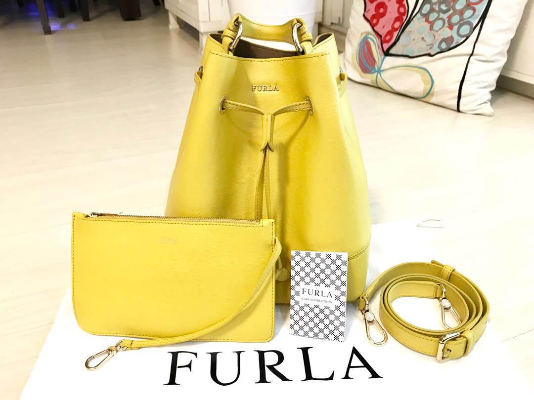 Furla Stacy Drawstring Bucket Bag Womens Fashion Bags Wallets Sling On Carousell