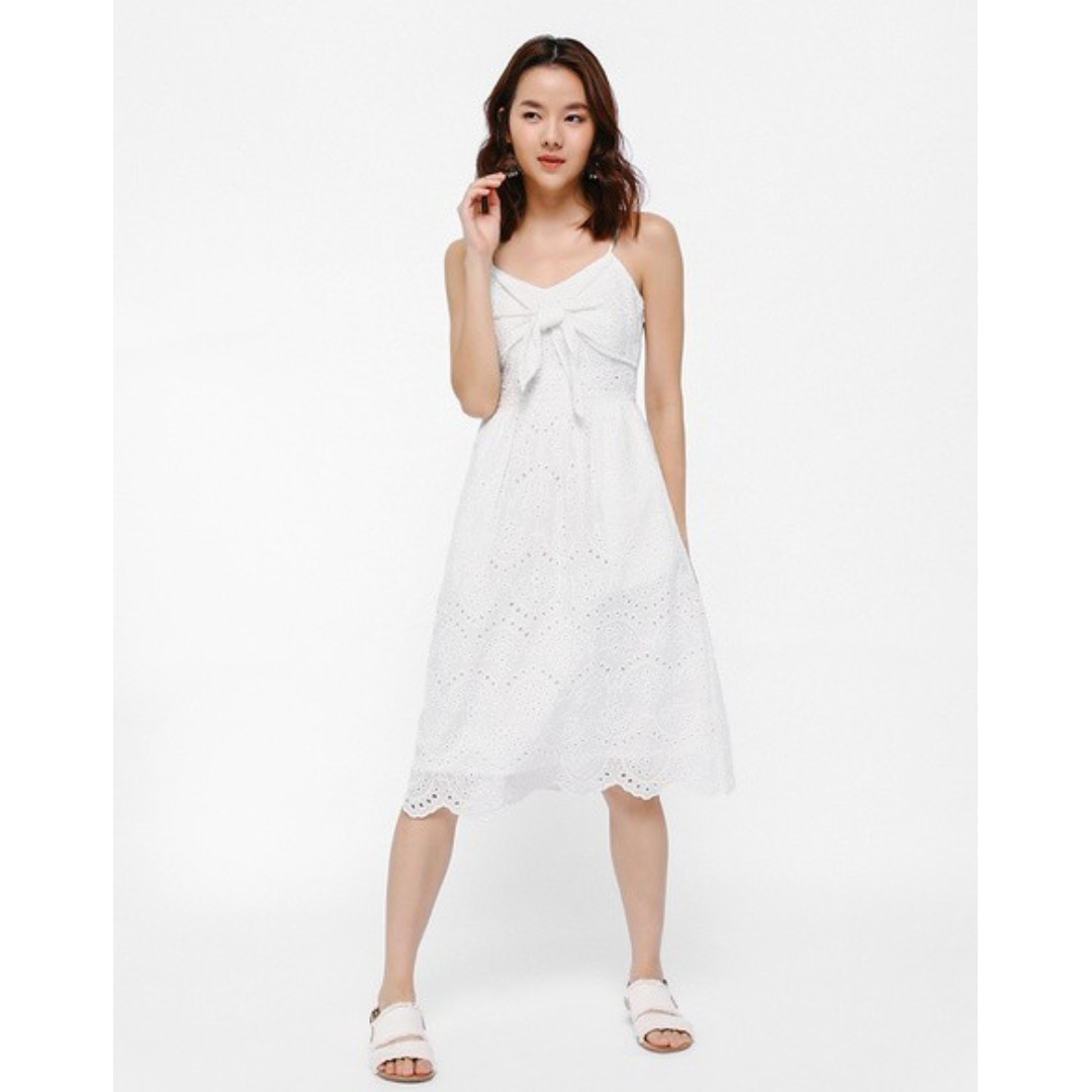434446be19 Keforie Knotted Front Eyelet Dress, Women's Fashion, Clothes ...