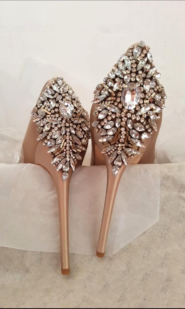 02436b10e85 Badgely Mischka Kiara embellished peep-toe heels