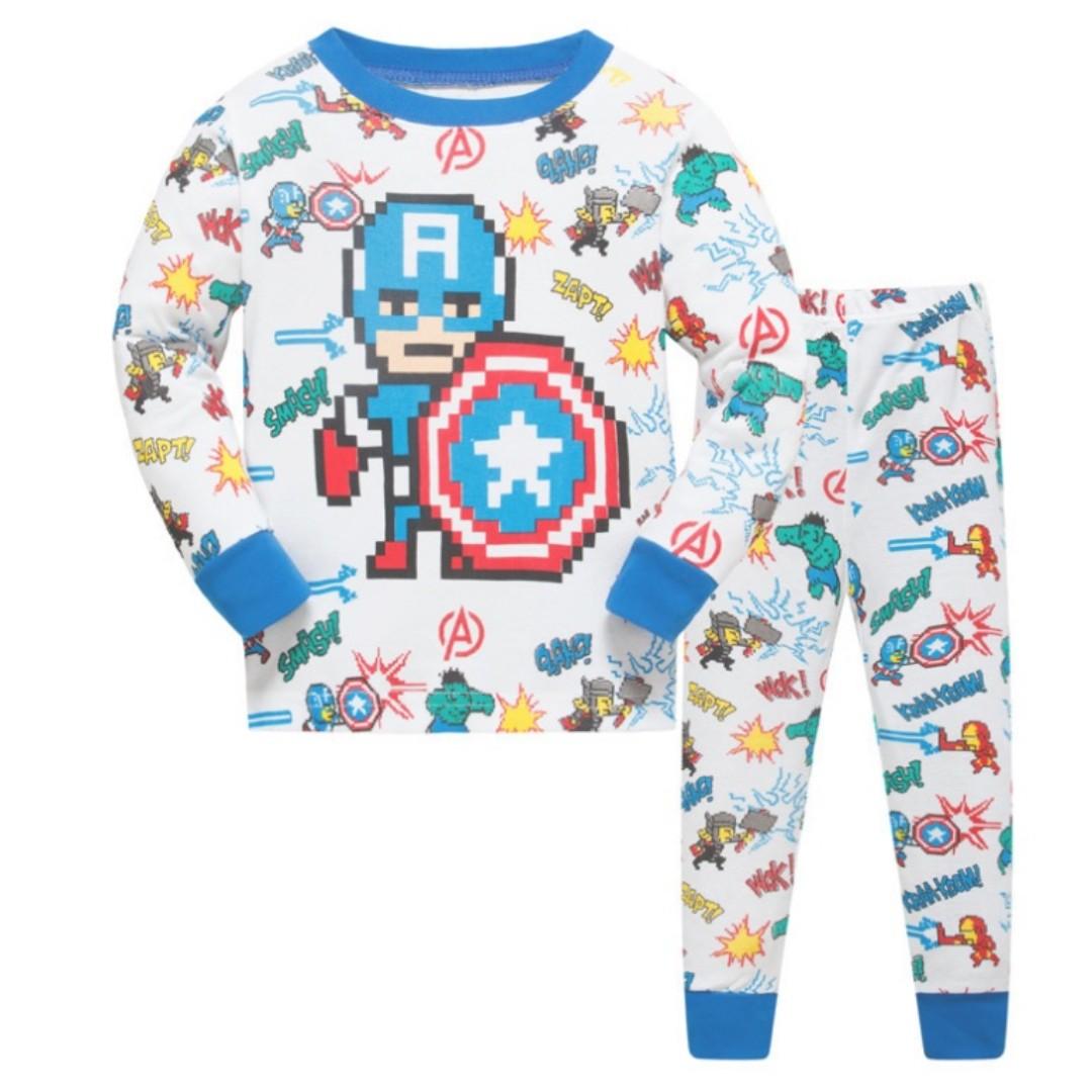 KOR112 Toddler Kids Pajamas PJs Sleepwear - Captain America Pixel 6 ... d1fddc99c