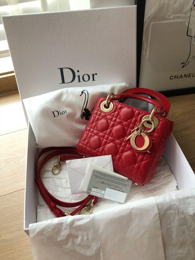 01ccf65eac Mini lady Dior in red lambskin, Luxury, Bags & Wallets, Handbags on ...