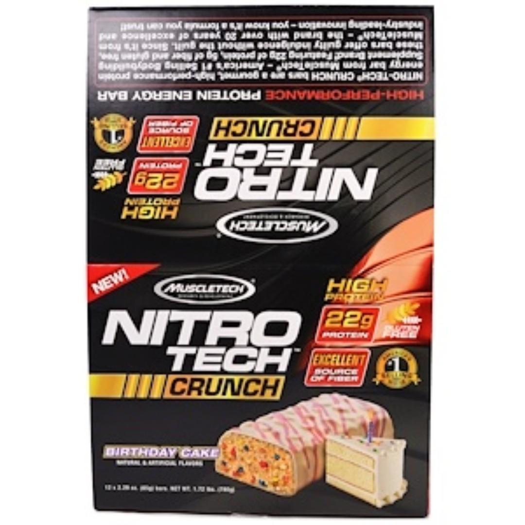 Muscletech Nitro Tech Crunch Bars Birthday Cake 12 229 Oz