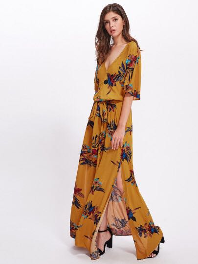 eabe12274f21 Mustard / yellow botanical print butterfly sleeves maxi dress floral  design, Women's Fashion, Clothes, Dresses & Skirts on Carousell