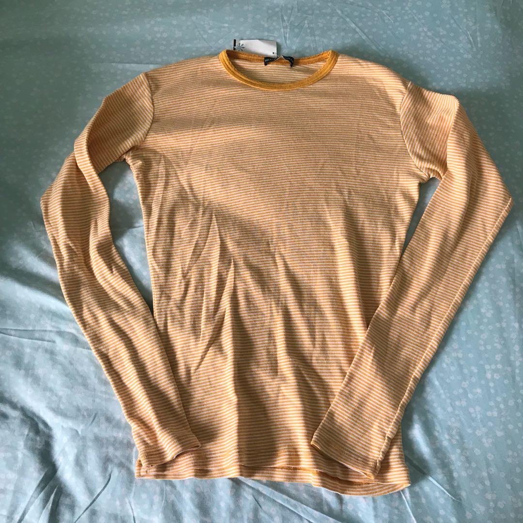 4426093f00 NWT Brandy Melville mustard yellow striped Long sleeve top, Women's ...