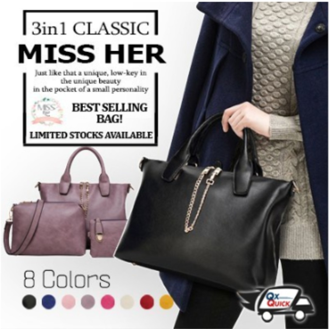 9513575fb16f Premium Quality ☆3in1 Lady Bag Korean Tote Bag Working Bag ...