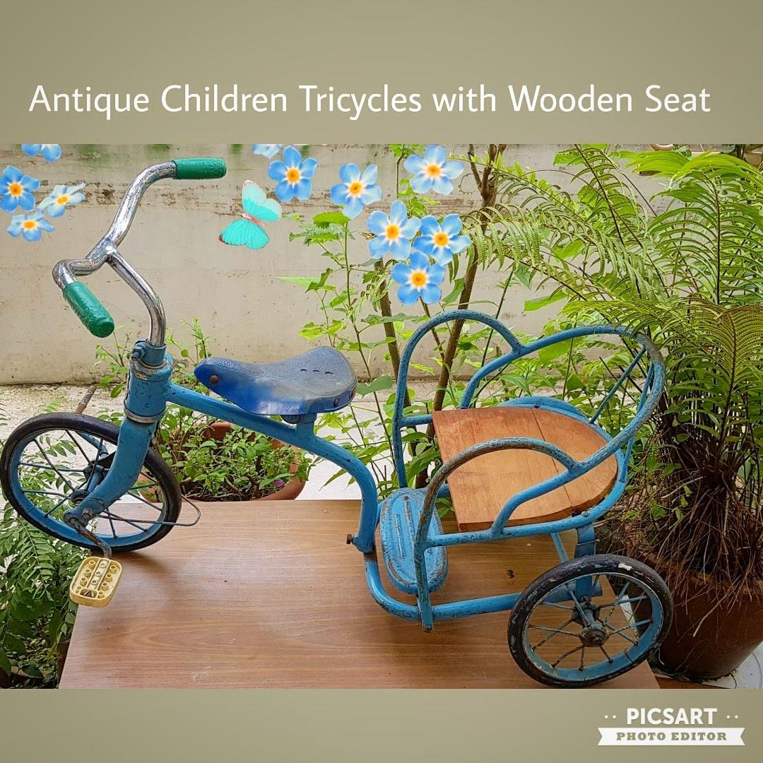 Rare Antique Or Vintage Children Tricycle With Wooden Seat Red Flower Brand Made In Shanghai Great As Display For Use You Have To Replace Tubes Wheel Guards And A Pedals Sms 96337309
