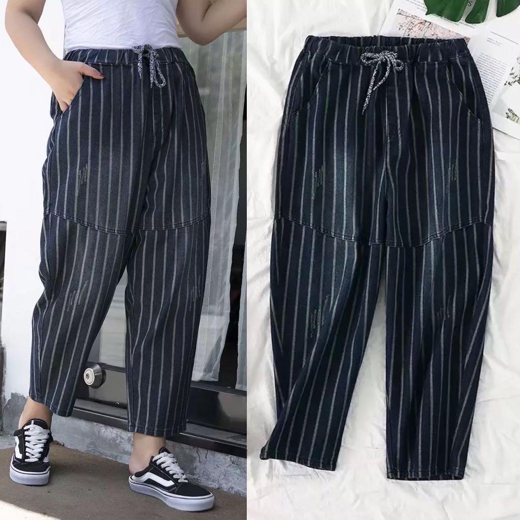 9dcea523ce0a 👖(XL~4XL) Large size women s ladies striped denim wide-leg pants ...