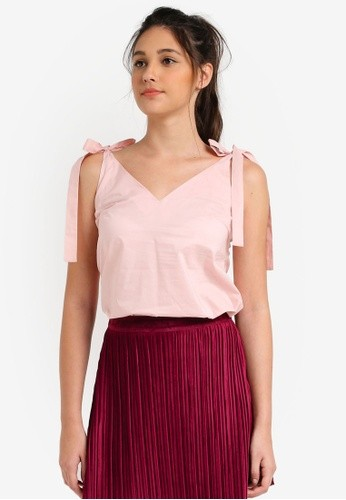 c603678eb7 ZALORA PINK Tie Detail Cami Top 💖, Women's Fashion, Clothes, Tops ...