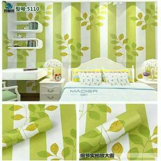 Wallpaper Sticker Dinding Uk 45cm x 10M- Garis Daun Hijau