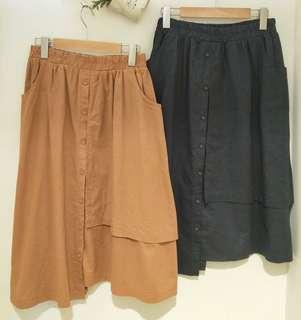 棉麻材質 中長裙