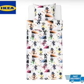 IKEA LATTJO Quilt cover and pillowcase, cat, multicolour