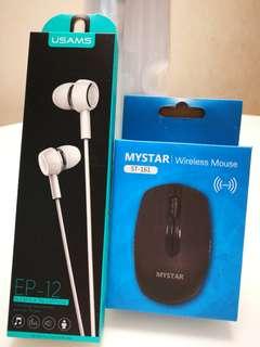 Wireless mouse & earphones