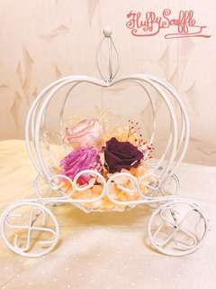 Fairytale pumpkin carriage preserved flowers童話故事南瓜車保鮮花