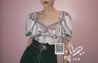 ioz 波蘭小眾 法式復古緞面蕾絲娃娃短襯衣