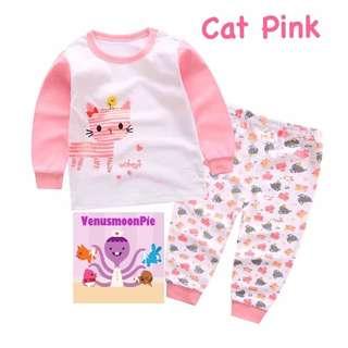 Pink kitty kids pajamas set, baju tidur