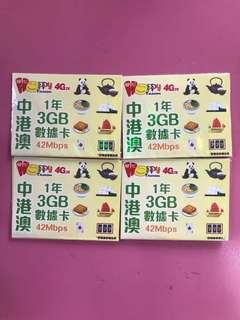 🇨🇳🇭🇰🇲🇴中港澳1年3GB數據卡🇲🇴🇭🇰🇨🇳