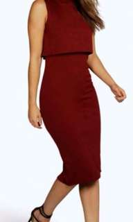 High neck double layer midi dress burgundy
