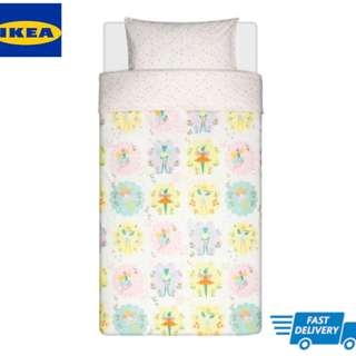 IKEA LATTJO Quilt cover and pillowcase, fairy, light pink