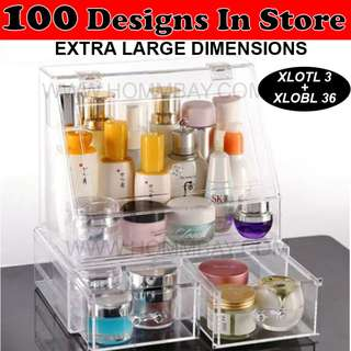 Makeup Make up Organizer Clear Acrylic Transparent Cosmetic Jewellery Jewelry Organiser Organizer Drawer Storage Box Holder (XLOTL 7 + XLOBL 36)