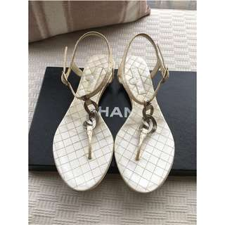Chanel   exotic python leather thong sandals shoes **Made in Italy,  Size 37**