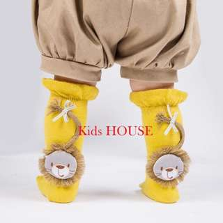 🚚 Adorable Lion Applique Ruffled Stocking for  Baby Girl Baby Boy / Toddler (0-3 Years)