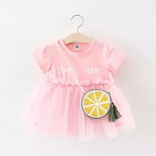 🚚 Pretty Short-sleeve Letter Solid Tulle Dress with Bag for  Baby / Toddler Girl (Pink) (0-3 yrs) CS028