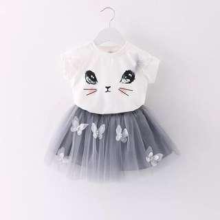 🚚 Lovely Cat T-Shirt & Appliqued Butterfly Tulle Skirt Set for Baby Toddler Girl (1-3 yrs) CS025