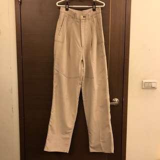 降價 古著 米色直筒寬褲